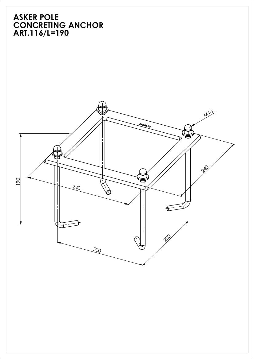 Аксесуари і опори Norlys Монтажний анкер бетон 116